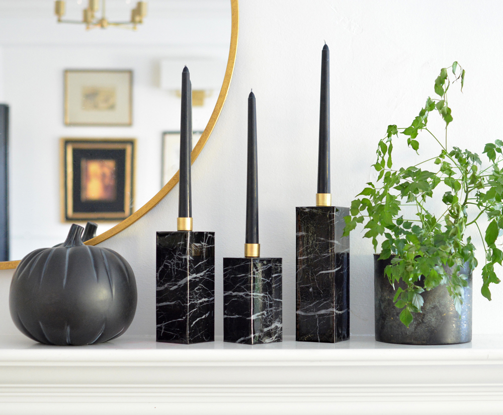 DIY: Faux Marble Candle Holders
